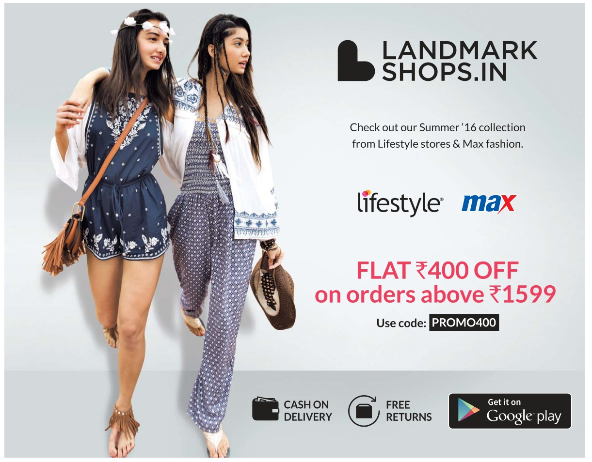 Lifestyle and max flat Rs 400 off | April 2016 discount offer | Ugadi festival offer