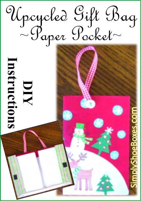 Upcycling gift bags to hold paper in Operation Christmas Child shoeboxes.