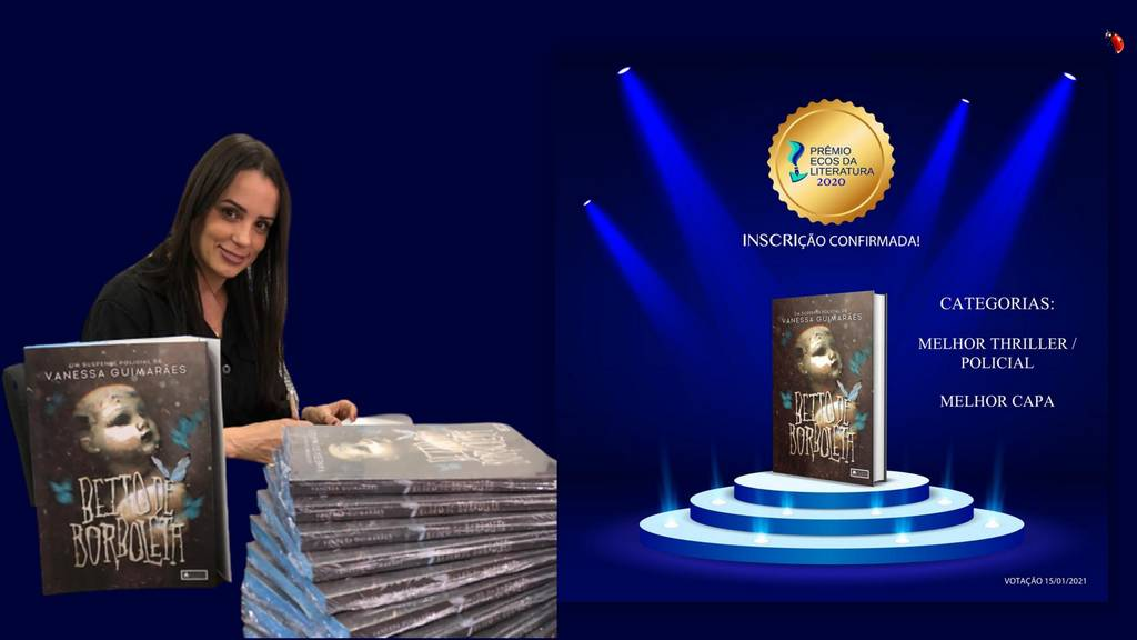 """""""Beijo de Borboleta"""", livro de estreia da escritora Vanessa Guimarães, foi indicado no Prêmio Ecos da Literatura 2021 nas categorias Melhor Thriller/Policial e Melhor Capa, além da obra a artista também foi indicada na categoria de Autor Revelação. A votação foi liberada nesta sexta-feira (15)."""