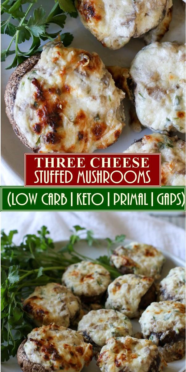 THREE CHEESE STUFFED MUSHROOMS (LOW CARB, KETO, PRIMAL, GAPS)  #Appetizerrecipes
