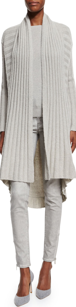 Ralph Lauren Black Label Open-Front Cashmere Cardigan light gray melange