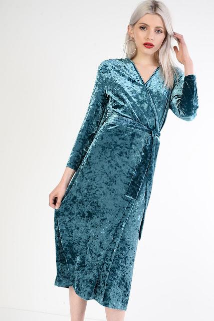 teal / blue velvet dress