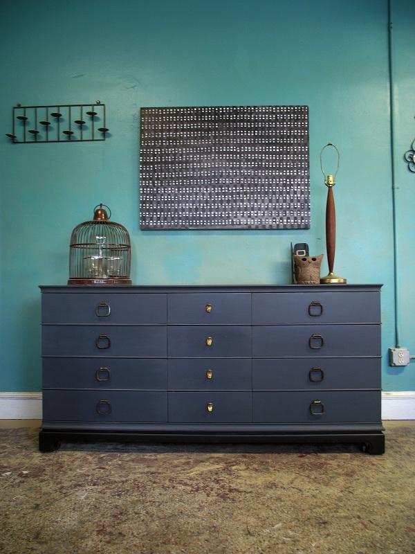 vintage ground deep gray vintage 12 drawer dresser chest of drawers. Black Bedroom Furniture Sets. Home Design Ideas