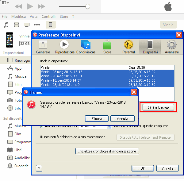 Eliminare backup iTunes da Windows