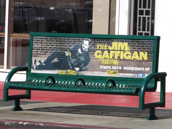 Jim Gaffigan Show billboard bench ad