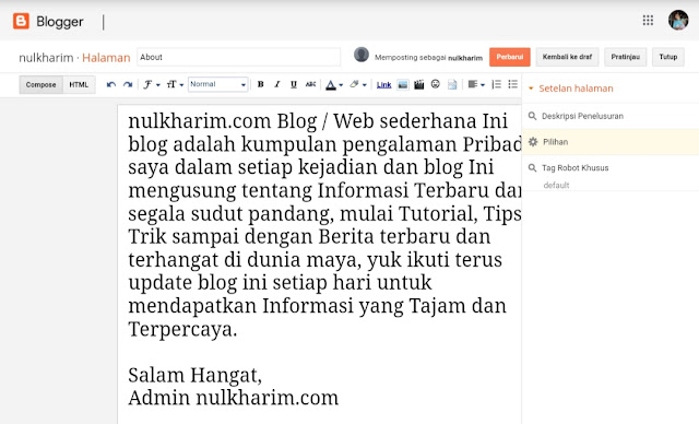Cara Membuat About, Contact, Privacy Policy, dan Disclaimer
