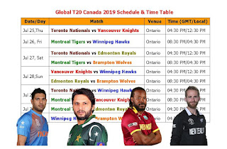 Global T20 Canada 2019 Fixture  #GlobalT20Canada2019 #t20cricket   Global T20 Canada 2019 Schedule & Time Table, t20 global Canada 2019 schedule, Global T20 Canada 2019 fixture, Global T20 Canada 2019 team & player list, Global T20 Canada 2019 players, t20 cricket series, cricket, t20 leagues, Global T20 Canada 2019 all team squad, match time, venue, Global T20 league 2019 schedule, 2019 ICC calendar, Toronto Nationals, Vancouver Knights, Montreal Tigers, Winnipeg Hawks, Edmonton Royals, Brampton Wolves, Yuvraj Singh, Kane Williamson, Chris Gayle, Shoaib Malik, Shahid Afridi,
