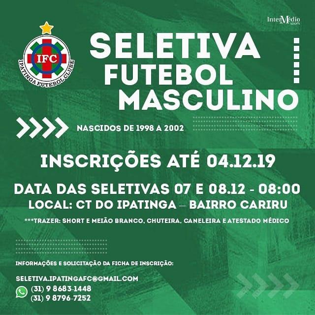 Saiba como participar da Seletiva do Ipatinga FC. Tigre disputará o Módulo II do Mineiro em 2020.