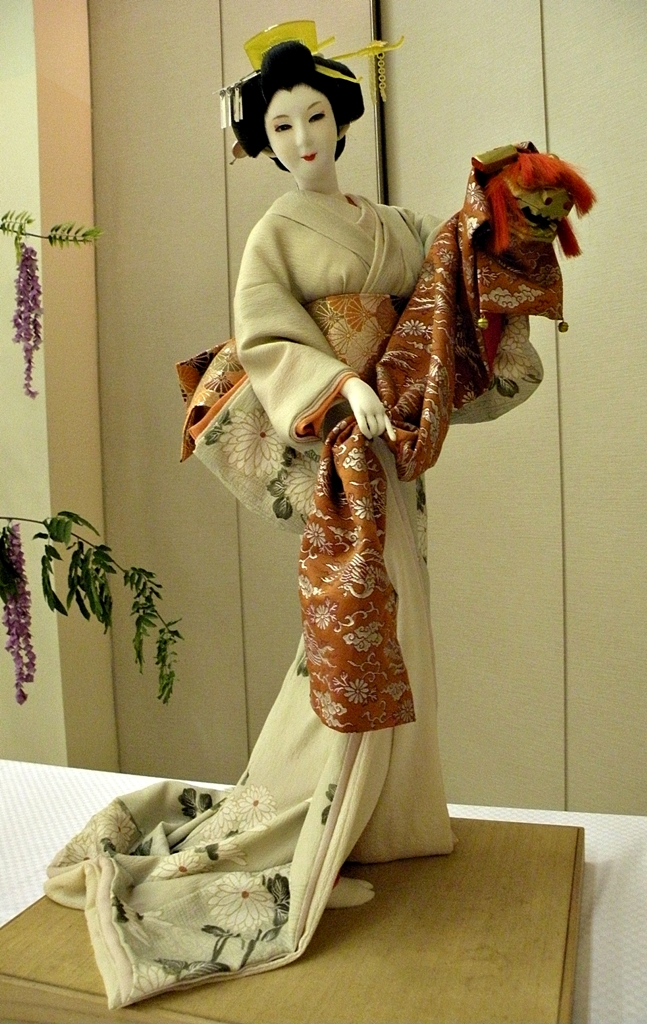 Traditional Japanese doll Oyama Ningyo in beautiful costume
