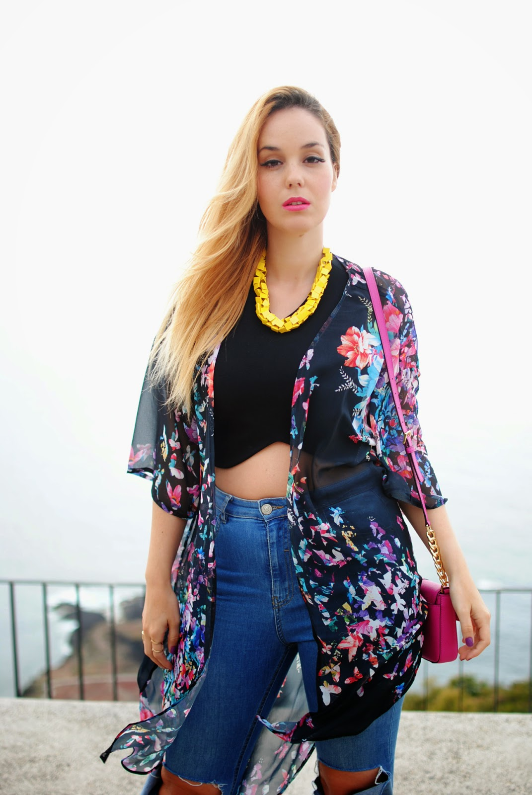 KIMONO, FLORAL PRINT, MOM JEANS, PANALONES DE MAMÁ, RIPPED JEANS