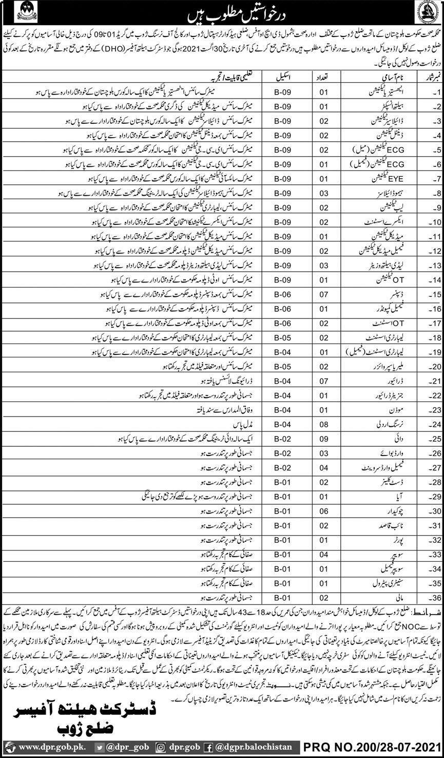 www.dpr.gob.pk Jobs 2021 - Health Department Zhob Jobs 2021 in Pakistan