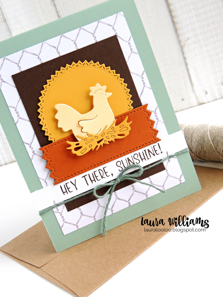 Make a chicken themed handmade card with a sweet Hey there, Sunshine sentiment. This fresh farmhouse inspired cardmaking idea is fun for spring and summer and the dies are so easy and fun to use!