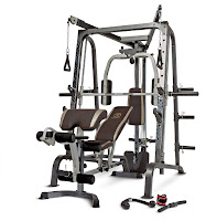 Marcy Diamond Elite Smith Cage with Linear Bearings MD9010G, combines 3 different type of strength building machines in one compact design for over 100 strength training exercises