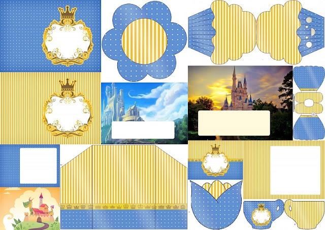 Corona Dorada en Azul y Amarillo: Invitaciones para Imprimir Gratis.