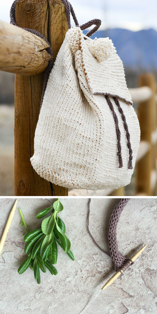 Straw-Like Easy Backpack - Free Knitting Pattern