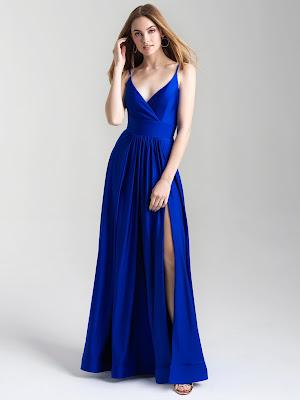 V-neck Madsion James Prom Dresses Blue color