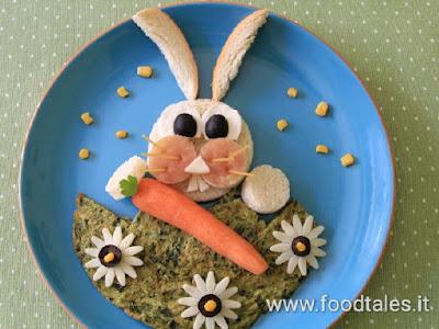 coniglio per i bambini con pane e prosciutto