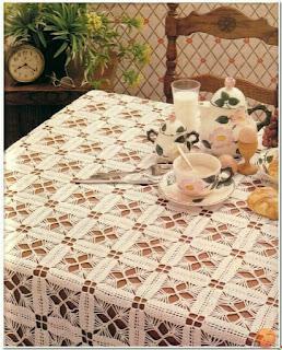 Crochet tablecloth by motifs