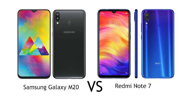 Perbandingan Spesifikasi Samsung Galaxy M20 VS Xiaomi Redmi Note 7 Menang Mana?