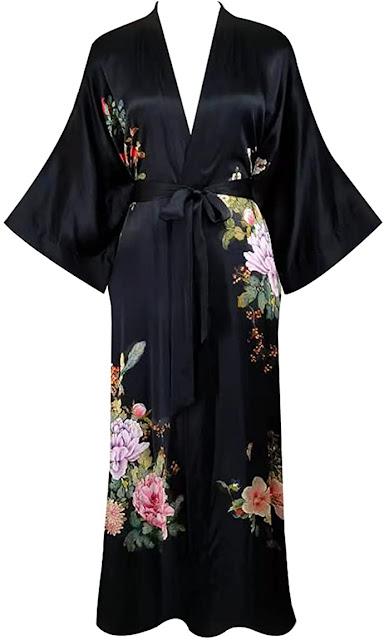 Women's Black Silk Robes