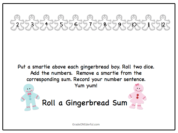 GIngerbread addition game for young learners. Game board and recording sheet. Instantly download, print and play.