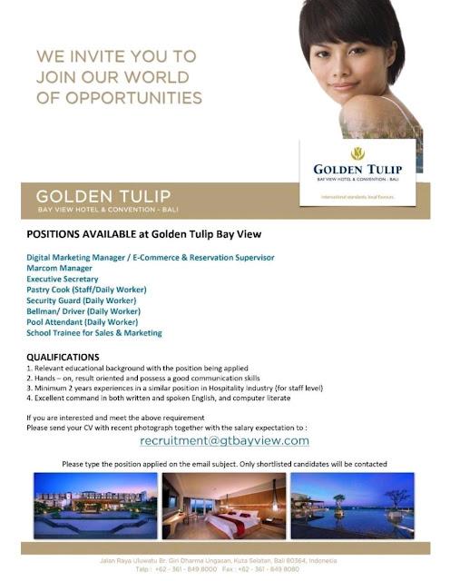Lowongan kerja Hotel Golden Tulip Bay View