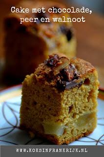 Makkelijke cake met peer, walnoten en chocolade - zonder pakjes