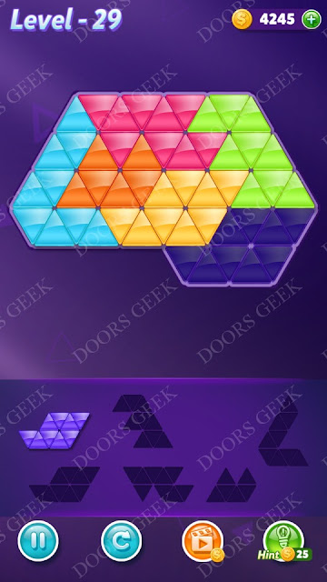 Block! Triangle Puzzle Intermediate Level 29 Solution, Cheats, Walkthrough for Android, iPhone, iPad and iPod