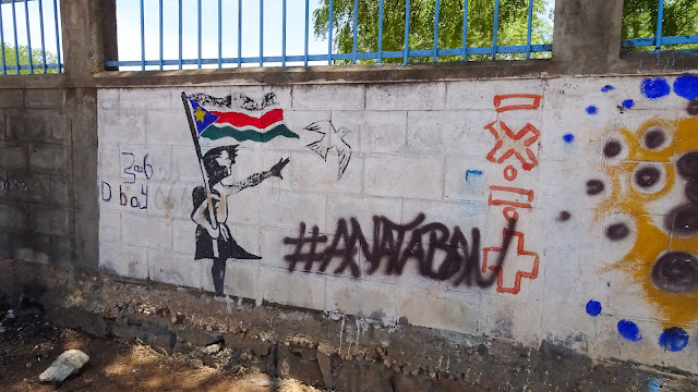 Graffity at a wall in the capital of South Sudan