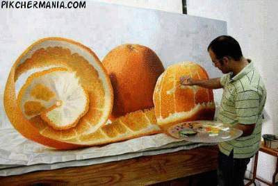 an orange oil painting