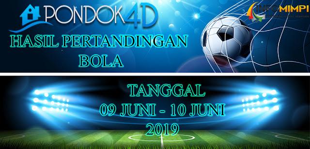 HASIL PERTANDINGAN BOLA TANGGAL 09 JUNI – 10 JUNI 2019