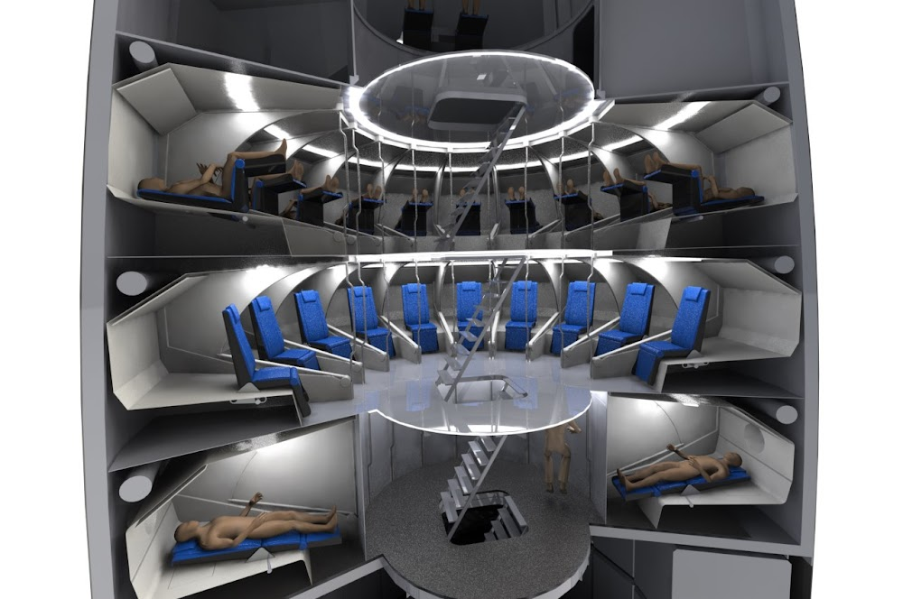 SpaceX Starship interior concept by Jim Murphy - seats/cabins in launch, boarding & sleeping configuration