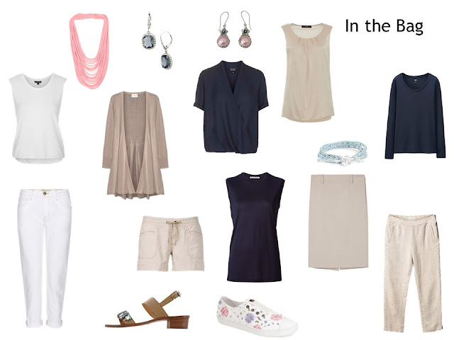 "10 items to pack, in navy, beige and white, to make up a ""Whatever's Clean 13"" warm weather travel capsule wardrobe"