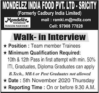 ITI, Graduates, Diploma Graduates  Job Vacancy Direct Walk in For Mondelez India Foods Private Limited
