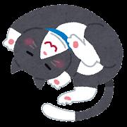 丸くなっている猫のイラスト