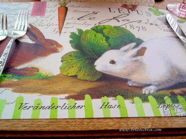 french lapin bunny spring paper placemats