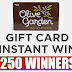 $50 Olive Garden Gift Card Instant Win Giveaway - 250 Winners. Daily Entry, Ends 6/28/19
