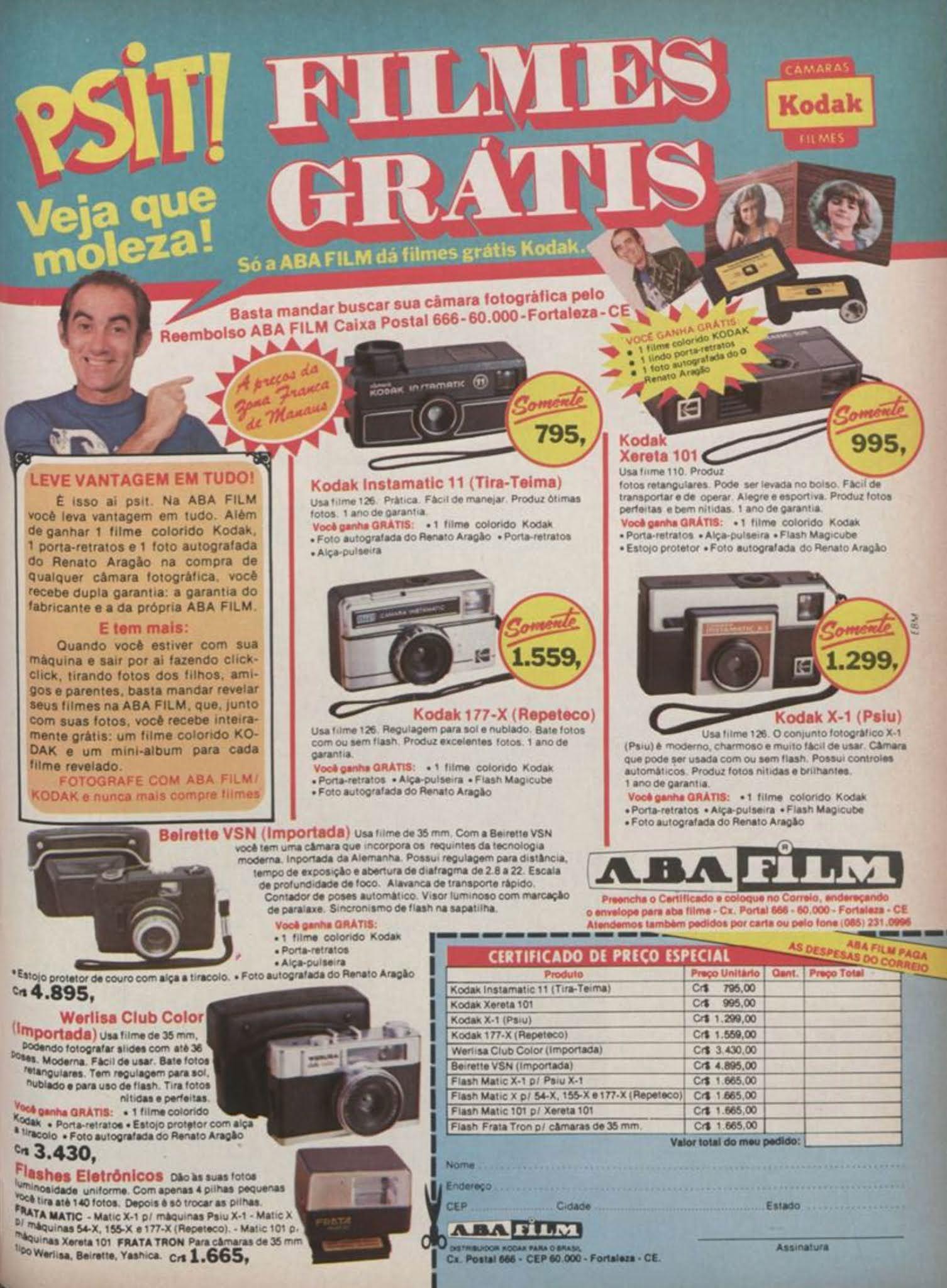 Anúncio antigo da Aba Film promovendo câmeras e filmes fotográficos em 1980