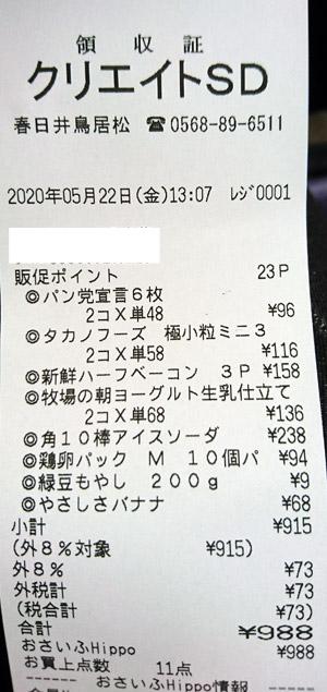 クリエイトSD 春日井鳥居松店 2020/5/22 のレシート
