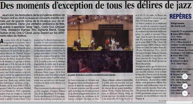 Article de presse Le Matin Maroc du 13 septembre 2014 Festival de musique Tanjazz Morocco