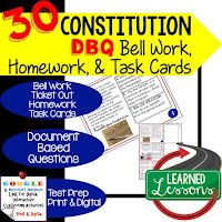 Civics Bellringers, American History Bell Ringers, Constitution DBQ, Early American History DBQ, DBQ Document Based Question Writing Activity, American History Activities