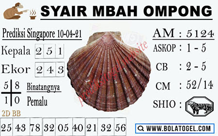 Syair Mbah Ompong SGP Sabtu 10-Apr-2021