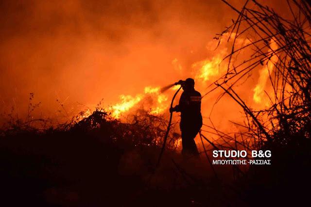 Πυρκαγιά τη νύχτα του Σαββάτου κοντά στα Πυργιώτικα Ναυπλίου