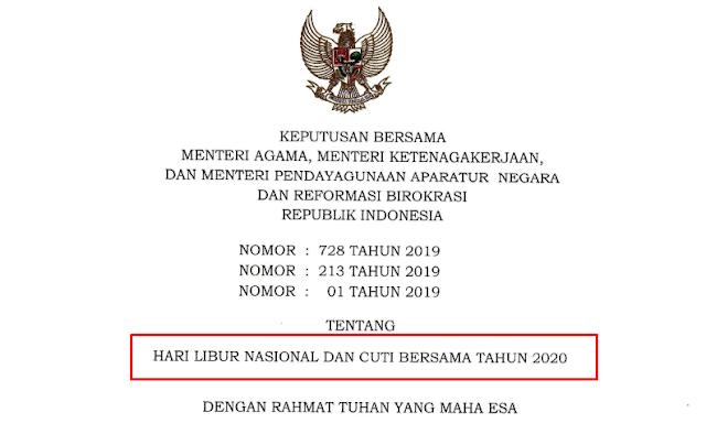 Hari Libur Nasional Dan Cuti Bersama Tahun 2020 Surat Keputusan Bersama