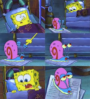 Polosan meme spongebob dan patrick 6 - spongebob tidur dengan gary