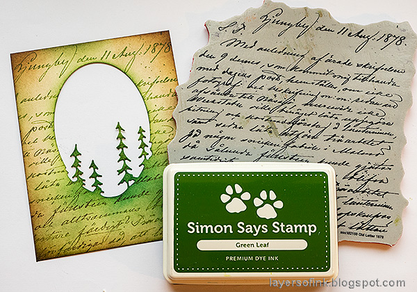 Layers of ink - Forest Shaker Card Tutorial by Anna-Karin Evaldsson. Stamp with Simon Says Stamp Old Letter Background.