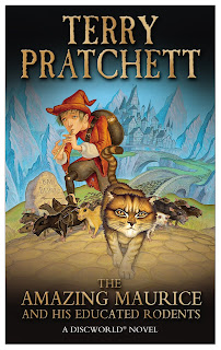 Book cover of the novel, with a pied piper character a cat and some rats