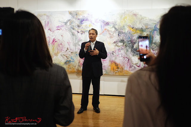Opening speeches at Beyond the Light - Chinese Artist He Zige - Photos By Kent Johnson for Street Fashion Sydney.