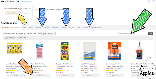 Amazon school supply list - Step 3