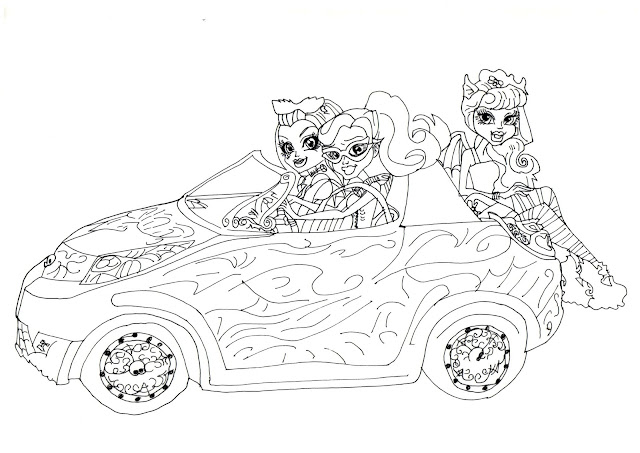 Free Printable Monster High Coloring Pages: Scaris Car
